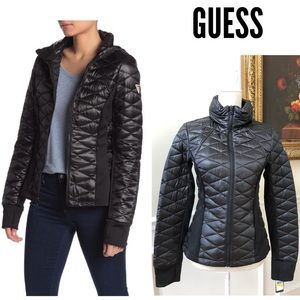 NWT GUESS Black Quilted Hoodie Puffer Jacket S